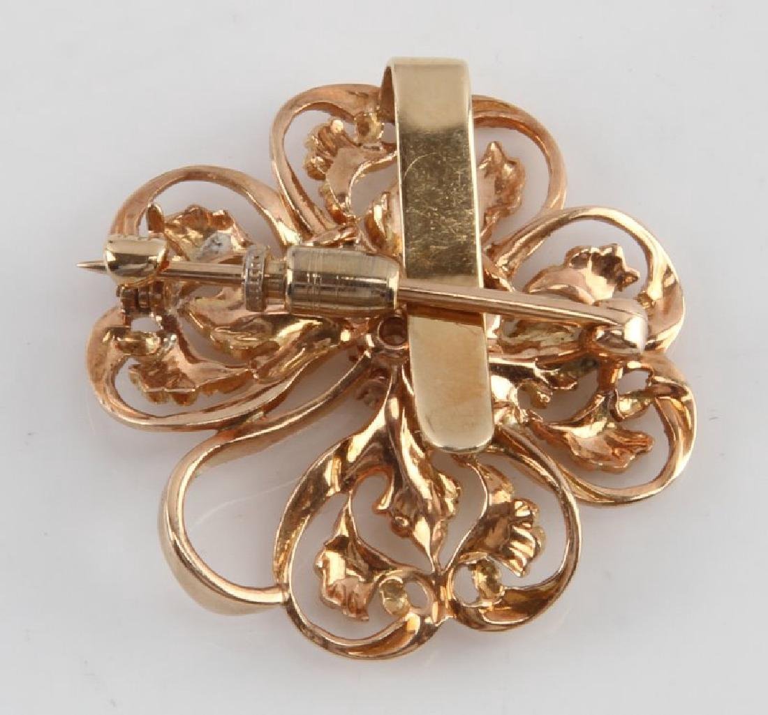 ANTIQUE 14KT ROSE GOLD BROOCH WITH .27 CT DIAMOND - 3