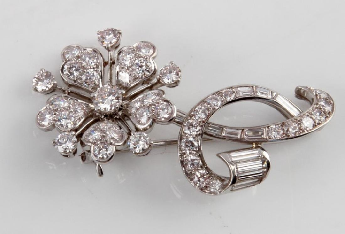 TIFFANY & CO PLATINUM DIAMOND BROOCH 4.1 TCW