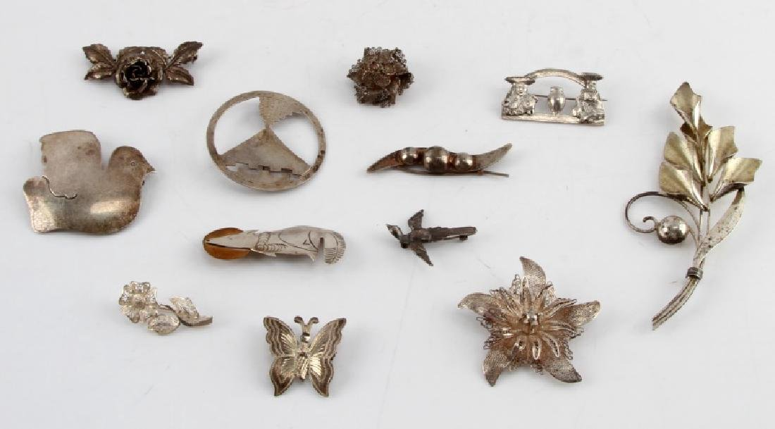 ANTIQUE AND VINTAGE STERLING SILVER BROOCH LOT 12
