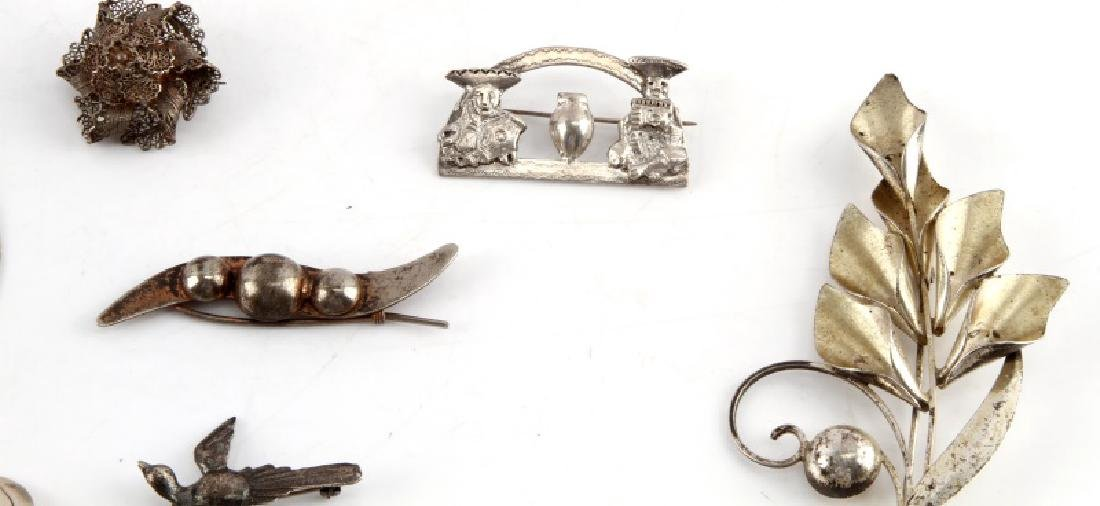 ANTIQUE AND VINTAGE STERLING SILVER BROOCH LOT 12 - 3