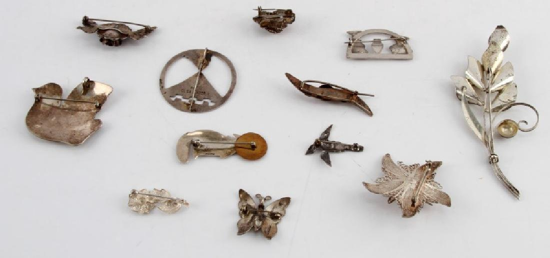 ANTIQUE AND VINTAGE STERLING SILVER BROOCH LOT 12 - 5