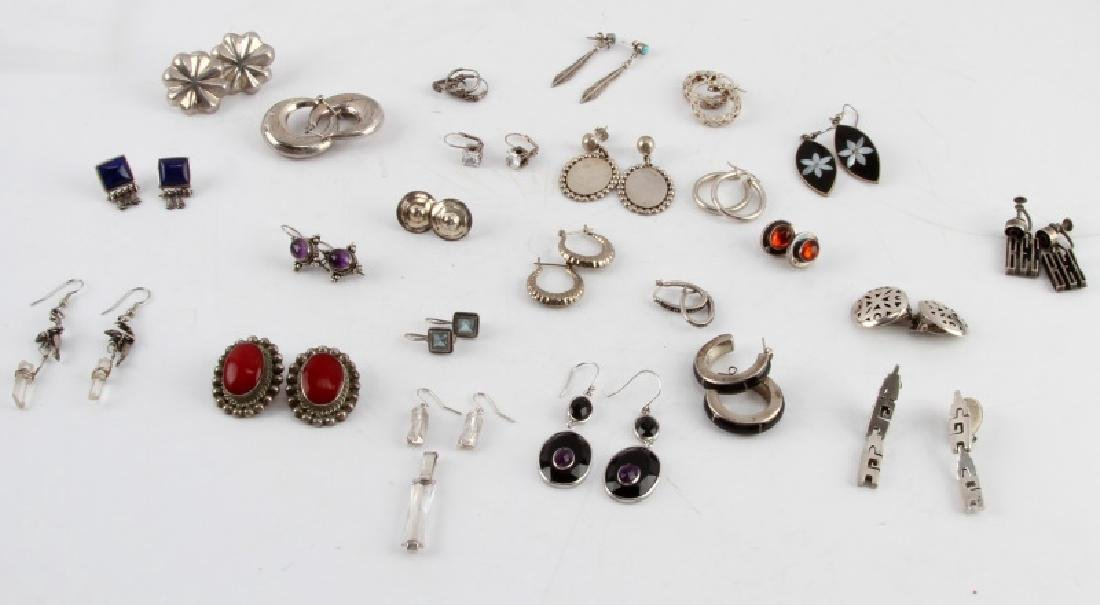 24 PAIRS OF VINTAGE SILVER EARRINGS SOME W STONES