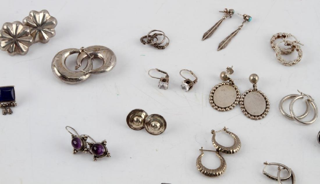 24 PAIRS OF VINTAGE SILVER EARRINGS SOME W STONES - 3