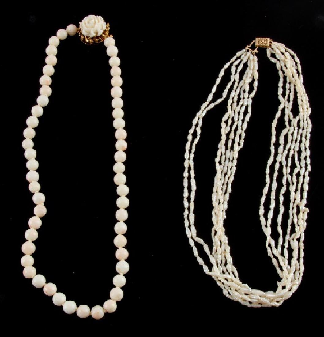 PAIR OF WHITE CORAL NECKLACES 14K & 18K GOLD CLASP