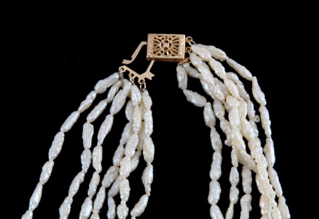 PAIR OF WHITE CORAL NECKLACES 14K & 18K GOLD CLASP - 4