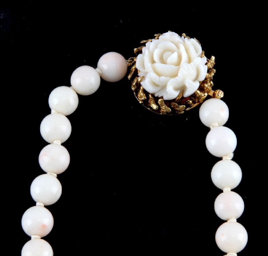PAIR OF WHITE CORAL NECKLACES 14K & 18K GOLD CLASP - 5
