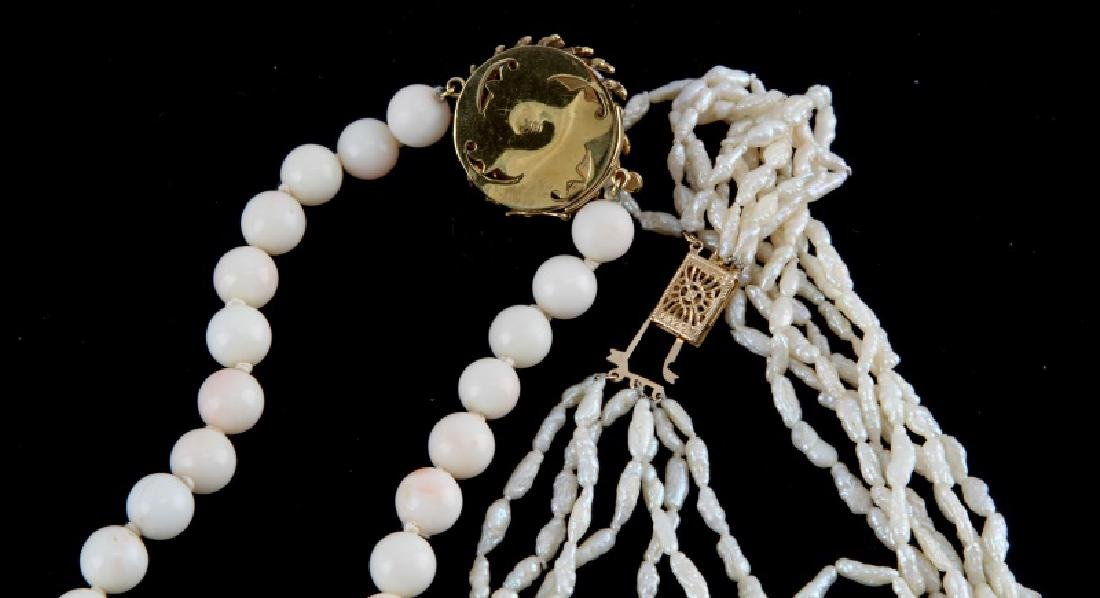 PAIR OF WHITE CORAL NECKLACES 14K & 18K GOLD CLASP - 6