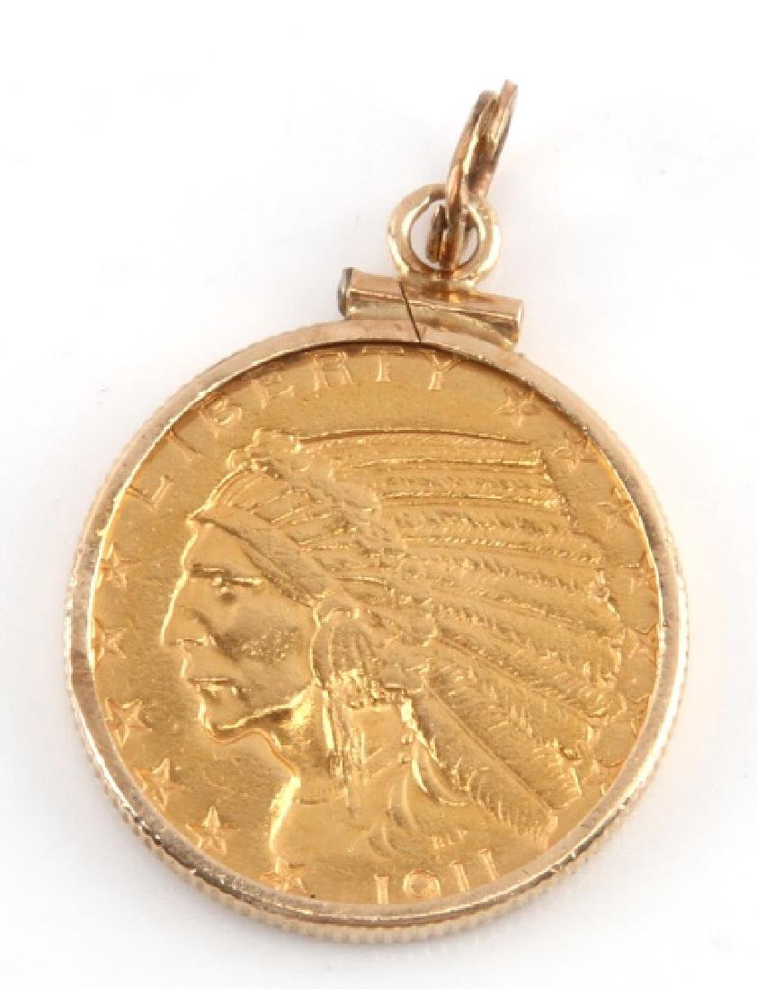 1911 GOLD $5.00 INDIAN MOUNTED COIN PENDANT