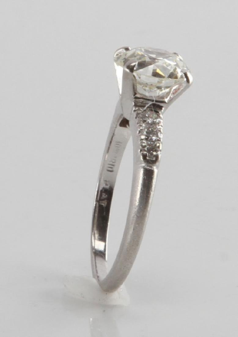LADIES PLATINUM DIAMOND RING 2.28 TCW EUROPEAN CUT - 3