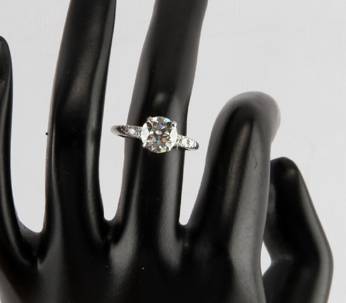 LADIES PLATINUM DIAMOND RING 2.28 TCW EUROPEAN CUT - 5