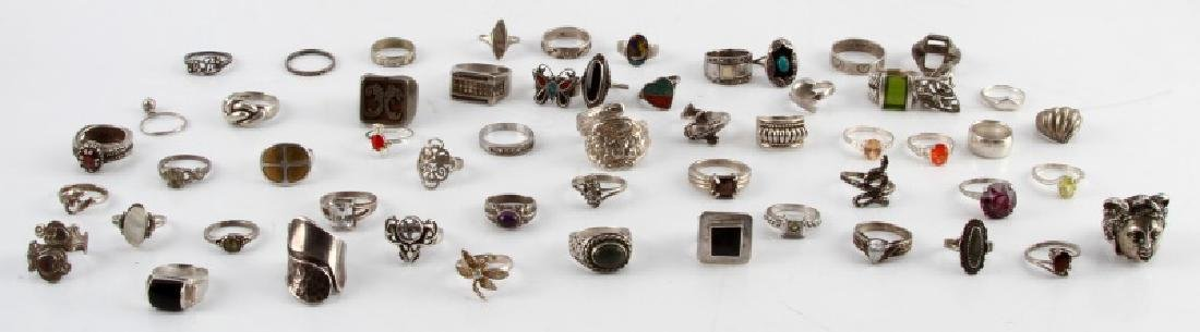 321 GRAMS OF VINTAGE SILVER RINGS 925 SOME W STONE