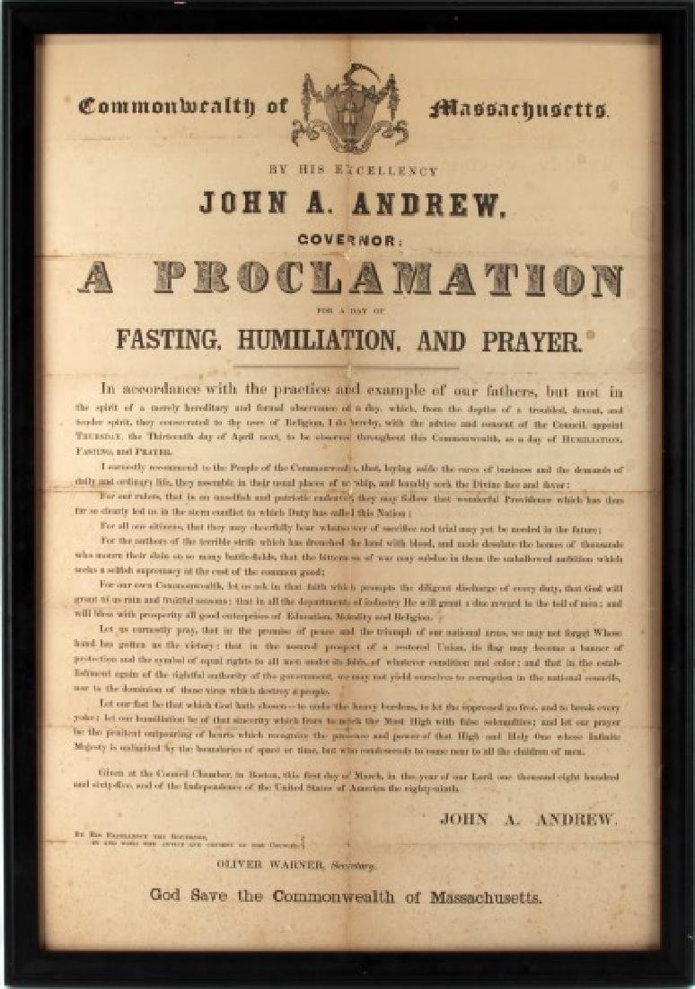 GOVERNOR OF MASSACHUSETTS 19TH C PROCLAMATION