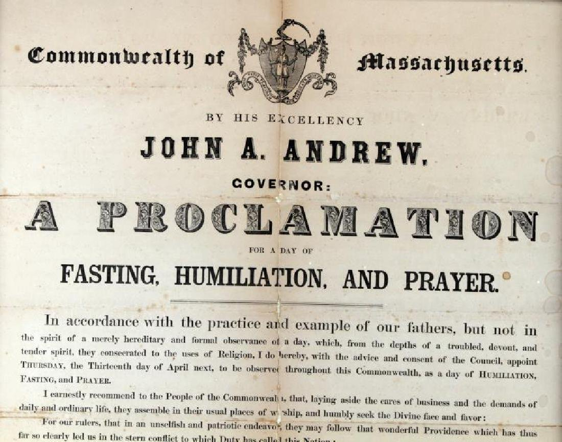 GOVERNOR OF MASSACHUSETTS 19TH C PROCLAMATION - 2