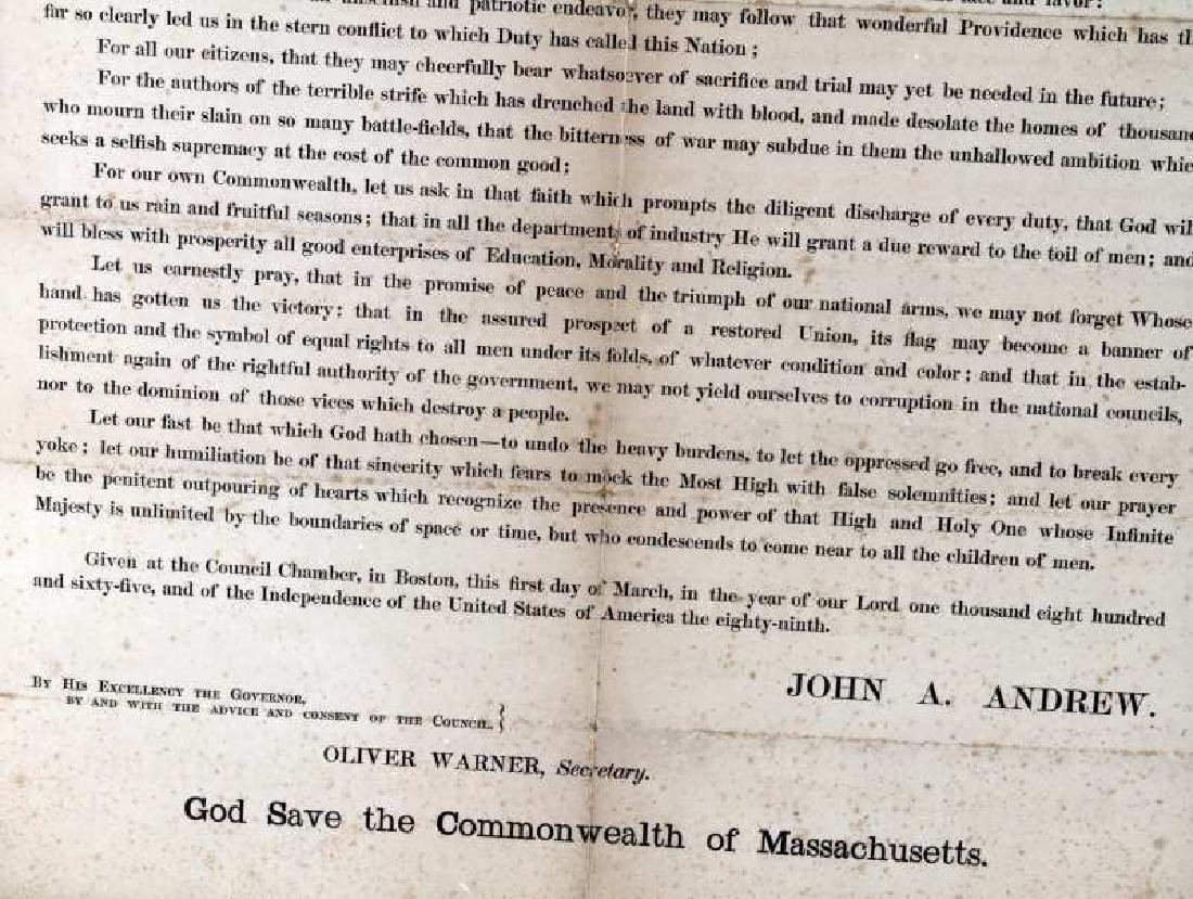 GOVERNOR OF MASSACHUSETTS 19TH C PROCLAMATION - 3