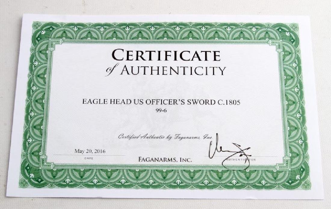US OFFICERS EAGLE HEAD SWORD CIRCA 1805 W COA - 9