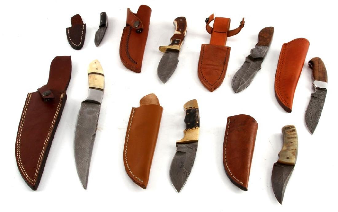 LOT OF 7 CUSTOM DAMASCUS STEEL BLADE KNIVES