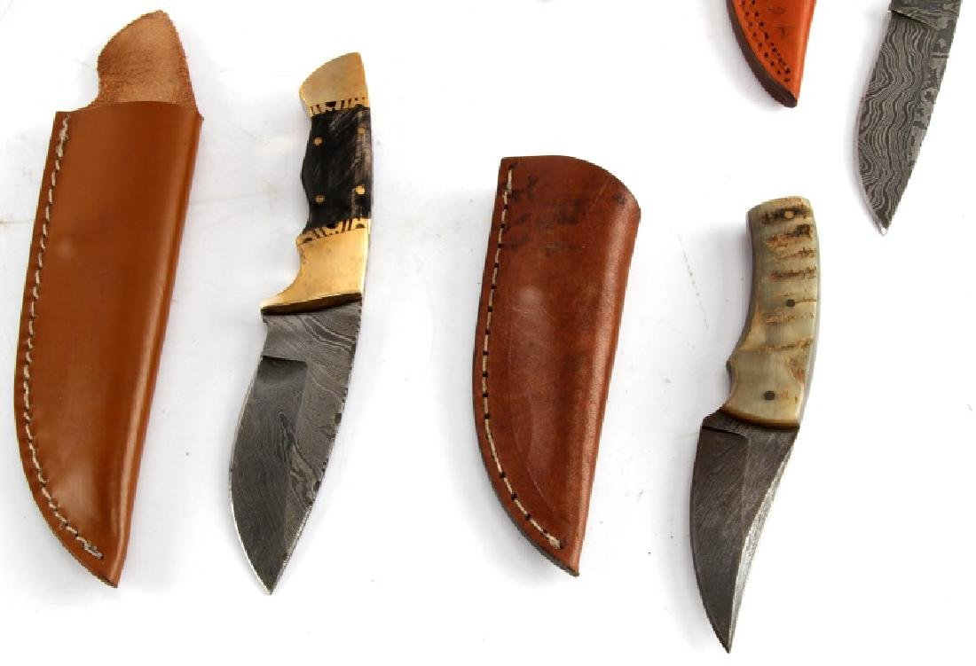LOT OF 7 CUSTOM DAMASCUS STEEL BLADE KNIVES - 4