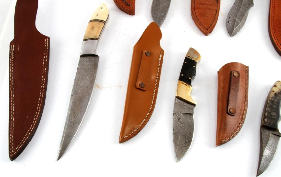 LOT OF 7 CUSTOM DAMASCUS STEEL BLADE KNIVES - 8