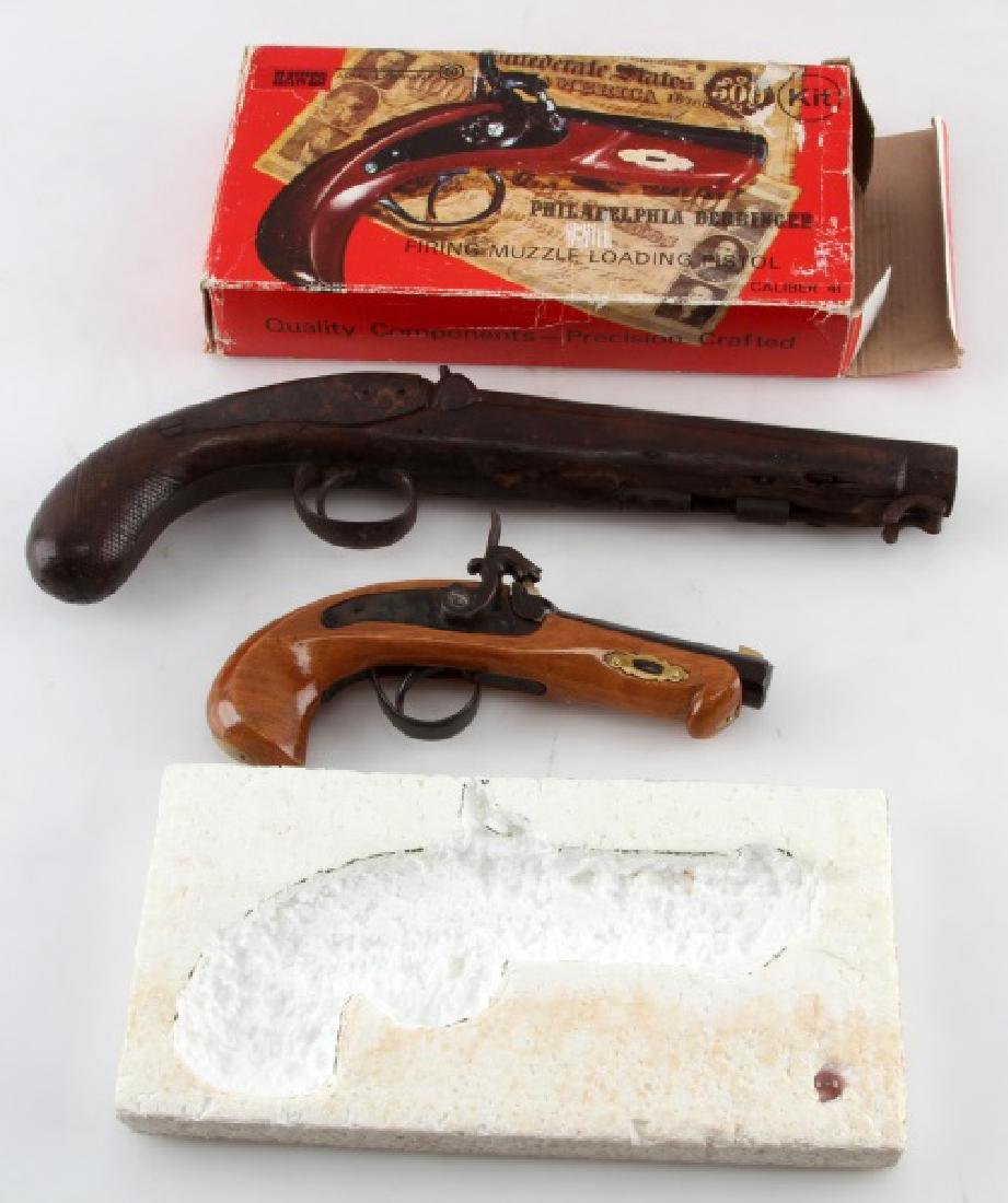 2 ANTIQUE PISTOLS PHILADELPHIA DERRINGER &ENGLISH