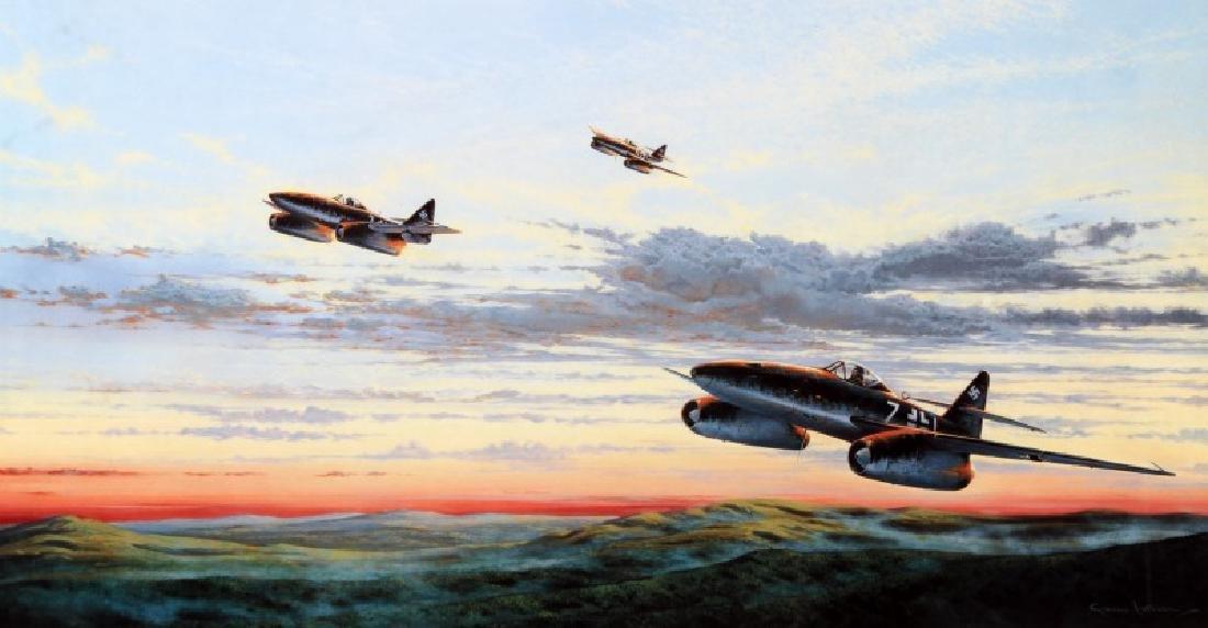 WWII GERMAN ADOLF GALLAND & STEINHOFF SIGNED PRINT - 2