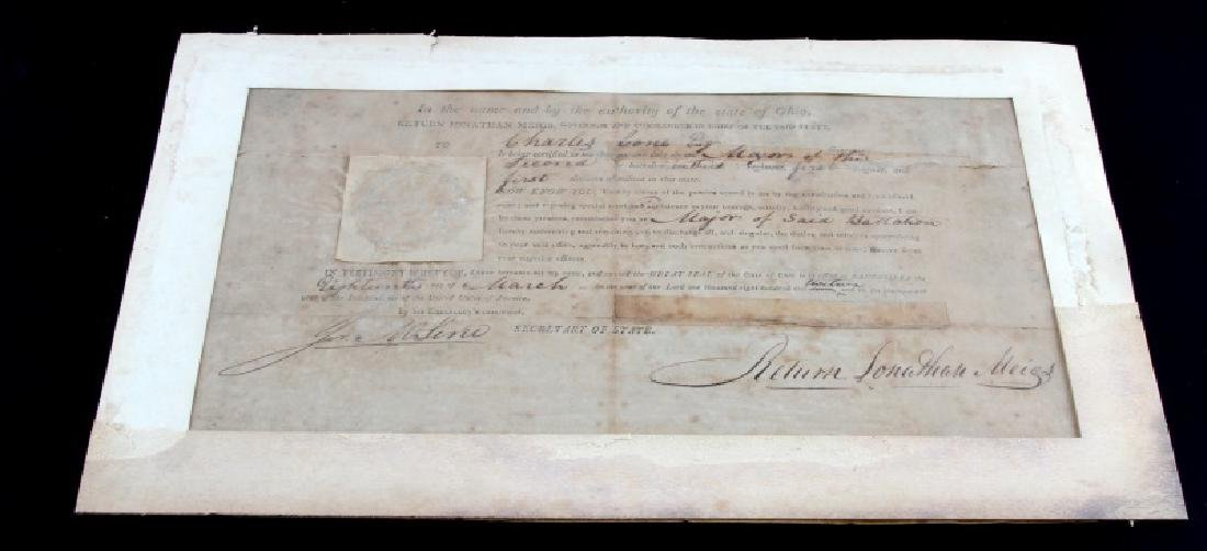 WAR OF 1812 OHIO GOVERNOR SIGNED COMMISSION