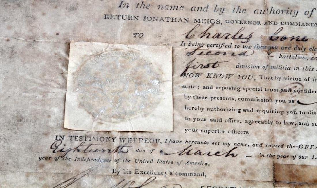 WAR OF 1812 OHIO GOVERNOR SIGNED COMMISSION - 2