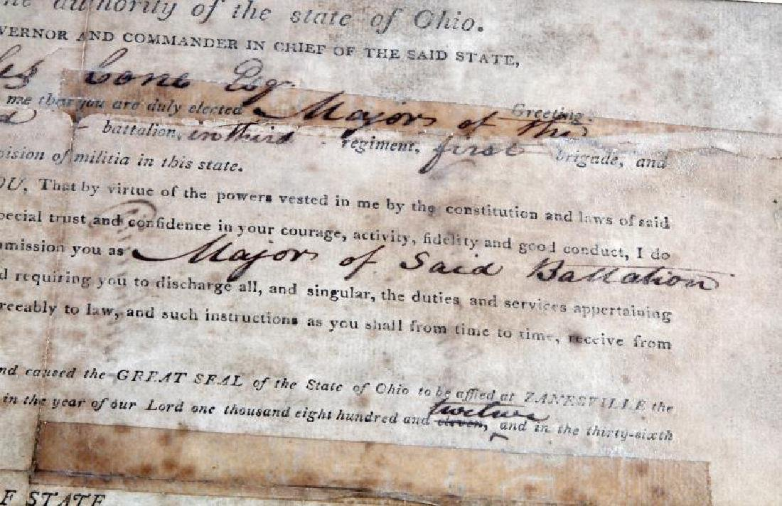 WAR OF 1812 OHIO GOVERNOR SIGNED COMMISSION - 3