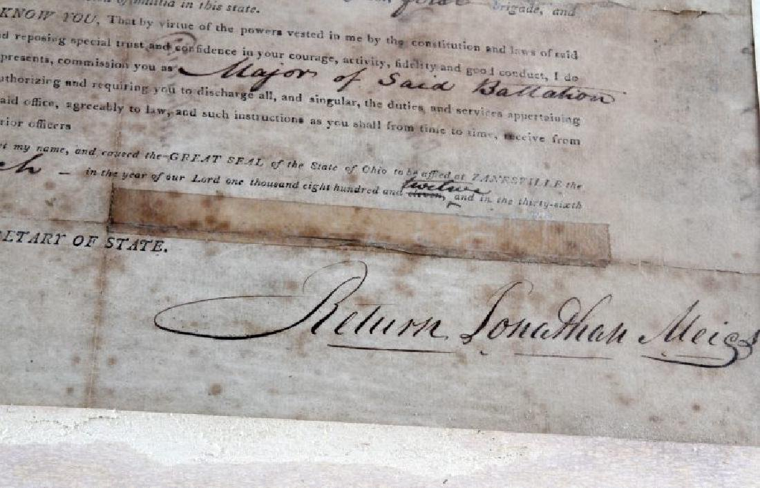 WAR OF 1812 OHIO GOVERNOR SIGNED COMMISSION - 4