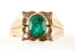 MENS 14K YELLOW GOLD EMERALD AND DIAMOND RING