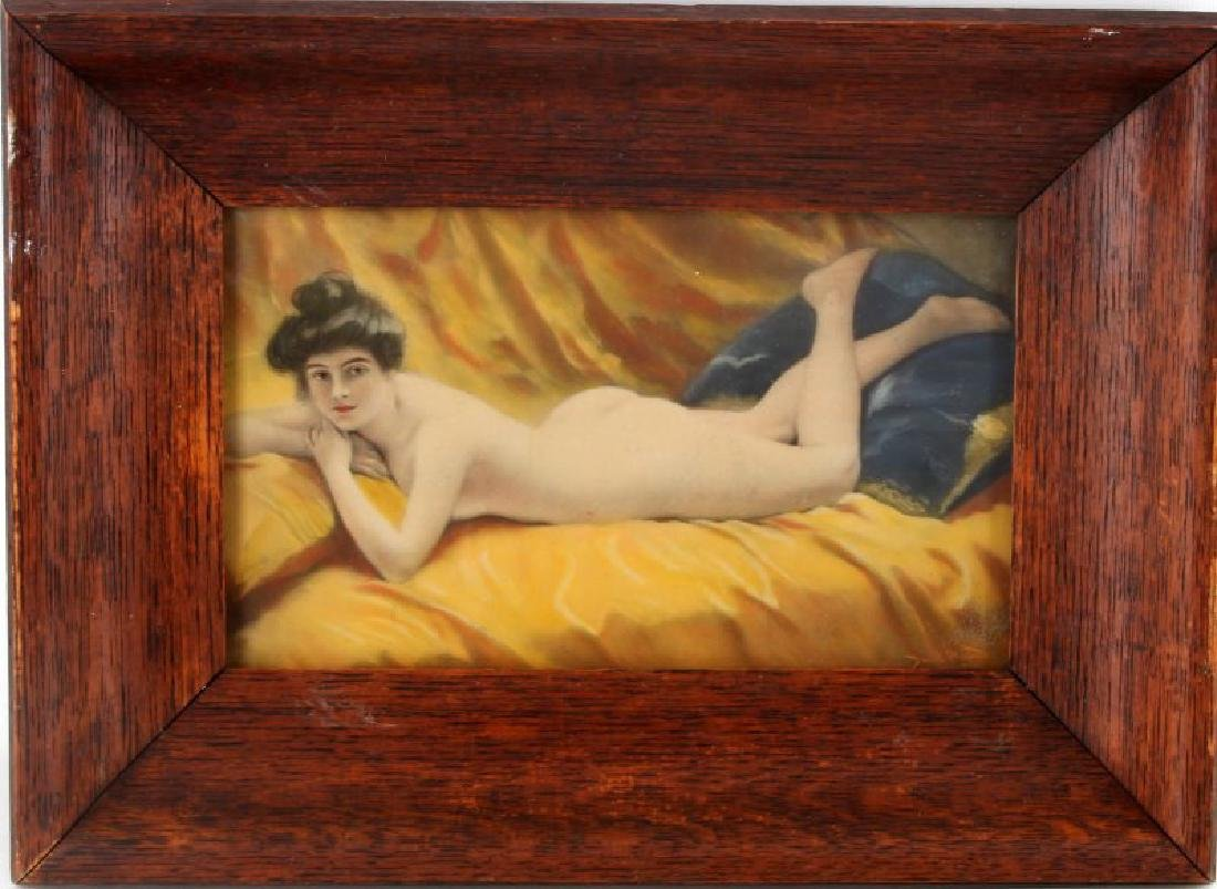 EARLY 20TH CENTURY EROTIC RECLINING NUDE SIGNED
