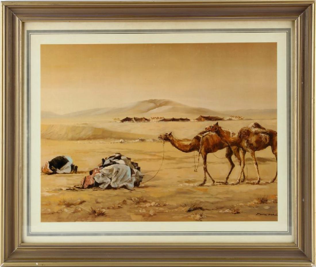 AFRICAN DESERT SHIEK & CAMEL VINTAGE PRINT