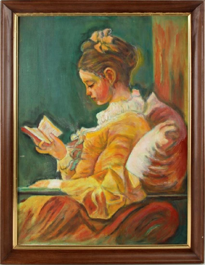 ACRYLIC IMPRESSIONISTC 18TH CENTURY GIRL READING