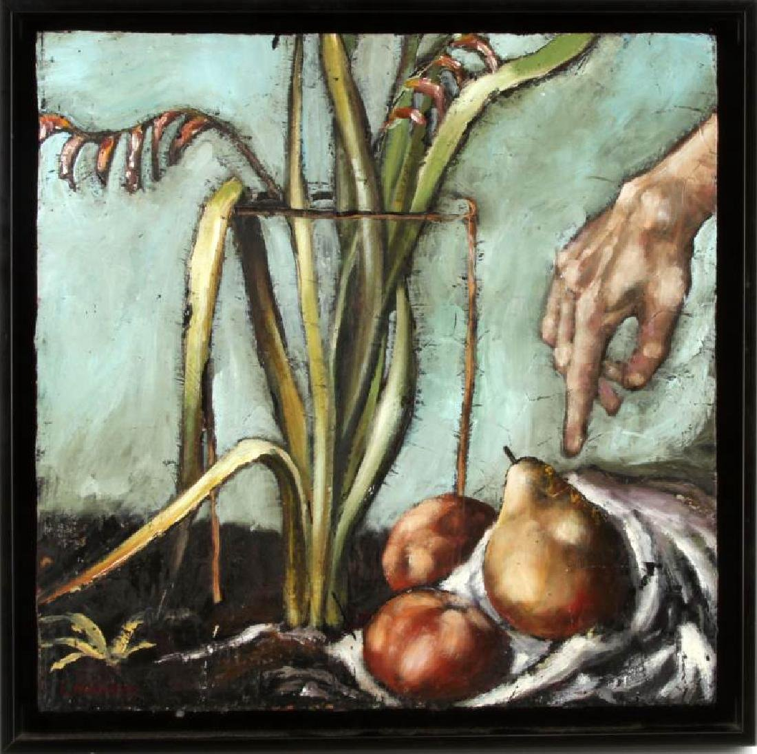 STILL LIFE OIL ON WOOD PAINTING SIGNED CROWDER