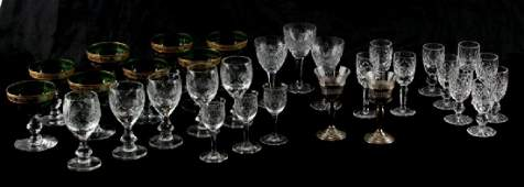 31 PC CUT CRYSTAL GLASS CORDIALS GRN GOLD SILVER
