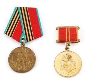 Pair Of Soviet Medals Wwii & Lenin Commemoratives
