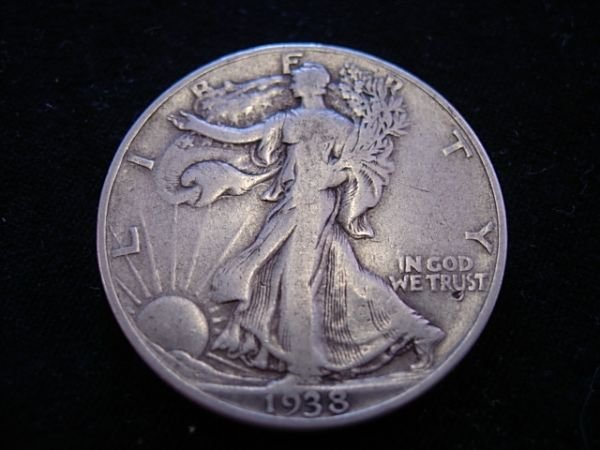1938D WALKING LIBERTY HALF DOLLAR KEY DATE VG OR BETTER