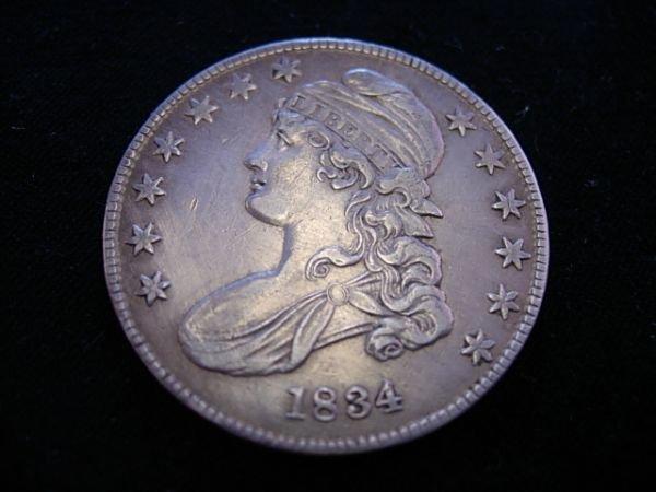 1834 CAPPED BUST HALF DOLLAR XF+