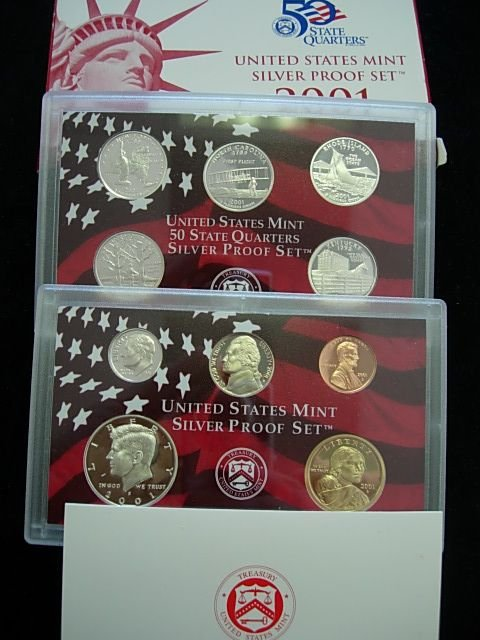 2001 SILVER PROOF 10 COIN SET BOXED AS ISSUED W COA