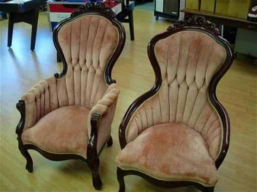 2 Kimball Victorian Gents Las Parlor, Kimball Antique Furniture