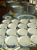 LOT 88 PC CURRIER IVES CHINA BLUE TRANSFERWARE