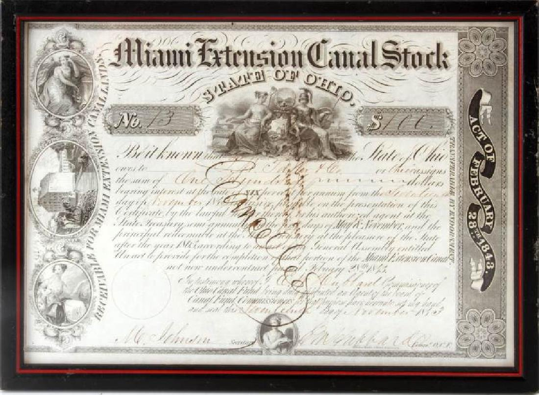 1843 MIAMI EXTENSION CANAL STOCK CERTIFICATE