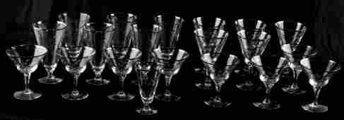 VINTAGE FOSTORIA ETCHED GLASSWARE 20 PC SILVER RIM