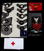 LOT US MILITARY WWII PATCHES & MEDALS COXSWAIN ETC