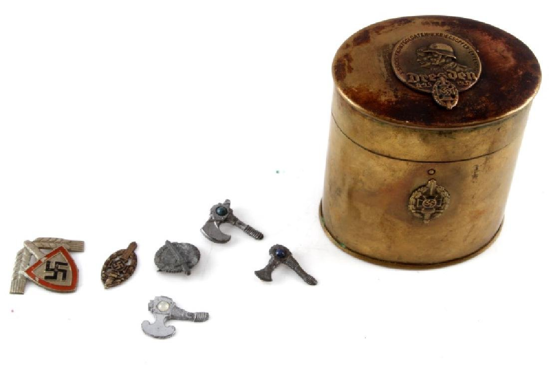 WWII GERMAN DRESDEN TIN CANNISTER AND PINS