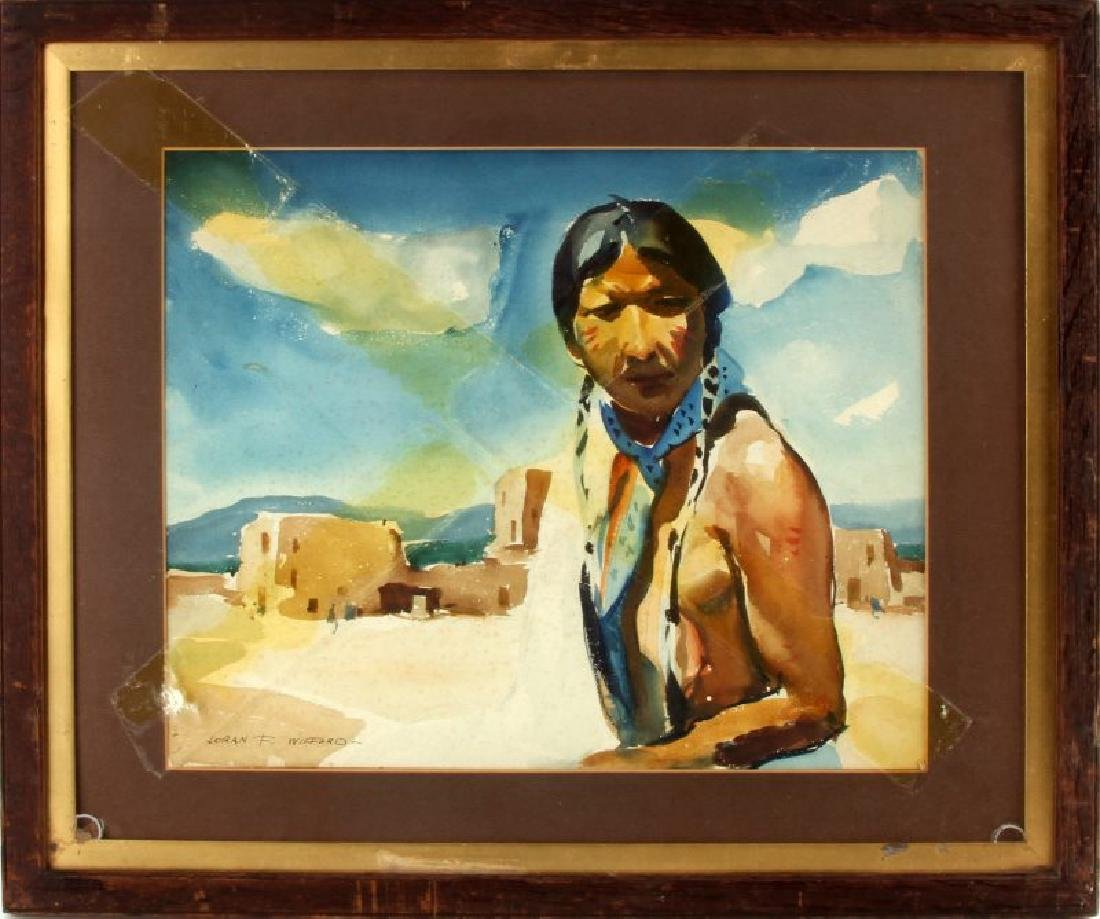 FRAMED NATIVE AMERICAN WATERCOLOR PAINTING WILFORD