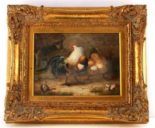 Oil On Canvas Painting Rooster Chicken Gold Frame