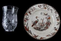 19TH C RIDGWAY CERAMIC PLATE  GLASS VOTIVE JAR