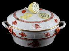 HEREND CHINESE BOUQUET RUST COVERED TUREEN 42 AOG
