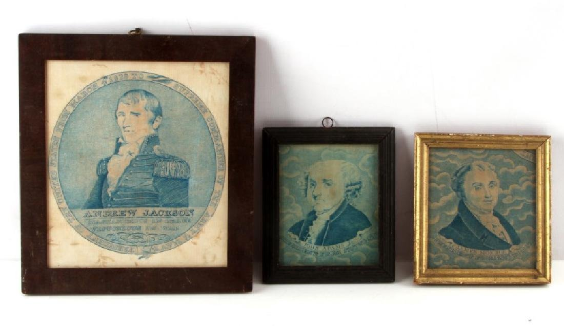 LOT OF THREE WOVEN PRESIDENTIAL DATED PORTRAITS
