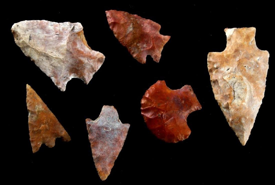 LOT OF 6 ARCHAIC FLORIDA  ARROWHEAD POINTS